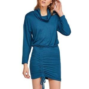 Free People Sundown Ruched Mini Dress L NWT